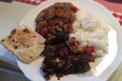 Asiatisch Gebratene Aubergine und Roti Canai